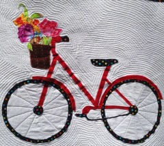 Bicycle Quilted Wall Hanging Close-up