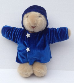 Edelweiss the Bear wearing his coat